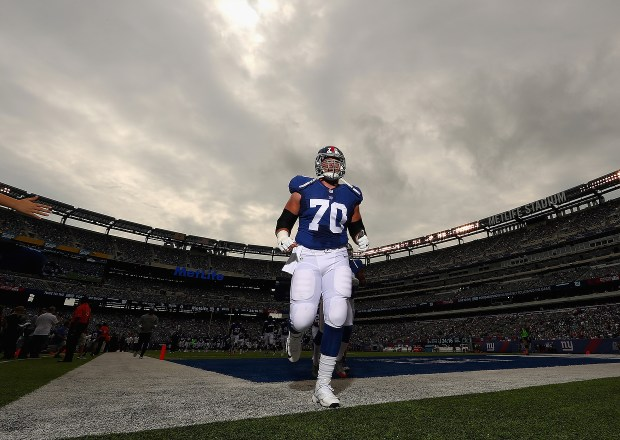 Weston Richburg takes the field before the New York Giants faced the New Orleans Saints at MetLife Stadium on September 18, 2016 in East Rutherford, New Jersey. (Photo by Al Bello/Getty Images)