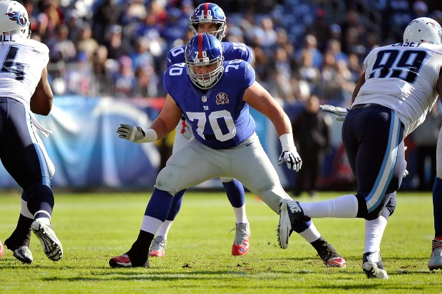 Weston Richburg started 50 of 51 games for the New York Giants as a 2014 second-round draft pick. (Photo by Frederick Breedon/Getty Images)