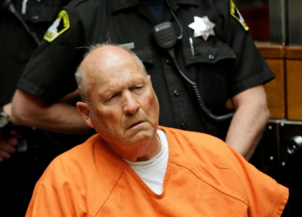 Joseph James DeAngelo, 72, who authorities suspect is the Golden State Killer responsible for at least a dozen murders and 50 rapes in the 1970s and 80s, is arraigned, Friday, April 27, 2018, in Sacramento County Superior Court in Sacramento, Calif. (AP Photo/Rich Pedroncelli)