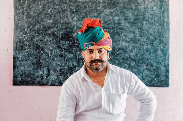Suresh Chauhan, the sarpanch, or mayor, of Gothara Tappa Dahina. He sayseducation is helping advance women's causes. MUST CREDIT: Photo for The Washington Post by Poras Chaudhary