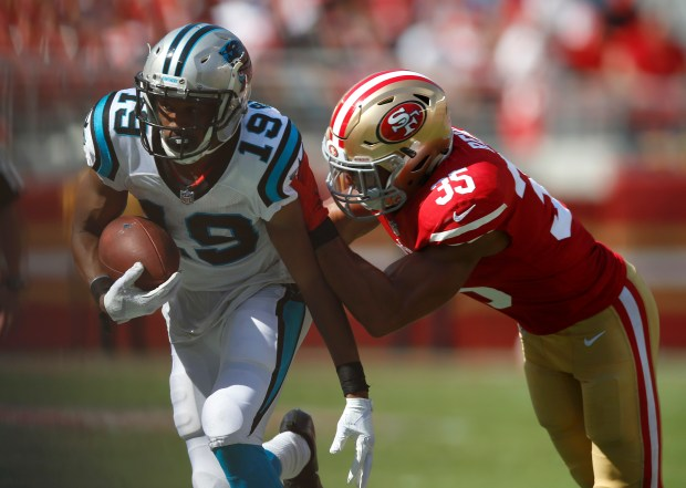 Carolina Panthers' Russell Shepard (19) is pushed out-of-bounds by San Francisco 49ers' Eric Reid (35) in the third quarter of their NFL game at Levi's Stadium in Santa Clara, Calif., on Sunday, September 10, 2017. (Nhat V. Meyer/Bay Area News Group)