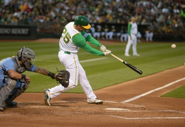 Oakland Athletics batter Stephen Piscotty (25) hits a double scoring two runs in the first inning of their baseball game against the Chicago White Sox at the Oakland Coliseum in Oakland, Calif., on Tuesday, April 17, 2018. (Doug Duran/Bay Area News Group)