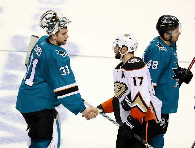 San Jose Sharks goaltender Martin Jones (31) shakes hands with Anaheim Ducks forward Ryan Kesler (17) after their win in Game 4 of the NHL Stanley Cup Playoffs on Wednesday, April 18, 2018, in San Jose, Calif. (Aric Crabb/Bay Area News Group)
