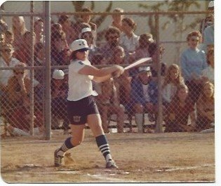 J. McKnight, shown here batting during a Blossom Hill Bobby Sox league game, played shortstop and pitched for Los Gatos' softball team. (Photo courtesy of Nancy OBrien Avoy)