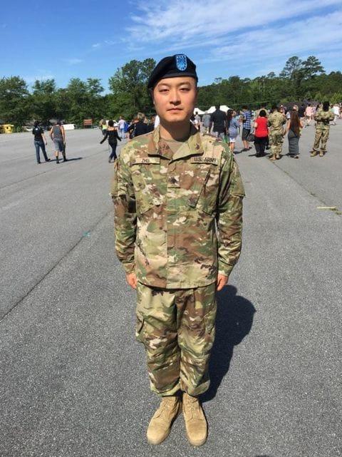 Xilong Zhu at Army basic training graduation in 2016. (Xilong Zhu)