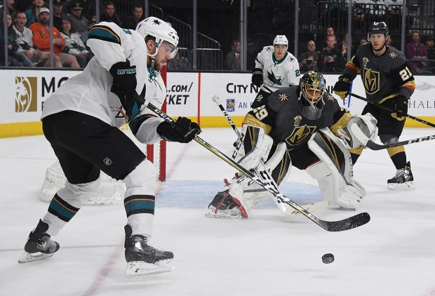 Chris Tierney #50 of the San Jose Sharks tries to get a shot off on Marc-Andre Fleury #29 of the Vegas Golden Knights in the first period of their game at T-Mobile Arena on March 31, 2018 in Las Vegas, Nevada. (Photo by Ethan Miller/Getty Images)