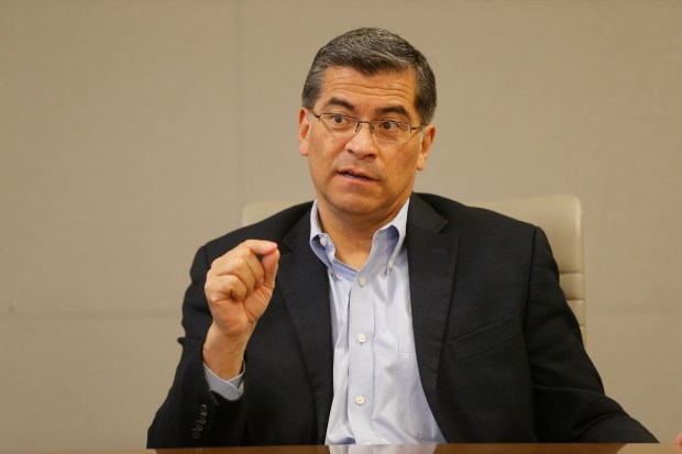 California Attorney General Xavier Becerra responds to questions from the Bay Area News Group's Opinion and Editorial Board during an interview at the San Jose Mercury News office on Monday, April 16, 2018. Becerra is seeking re-election to the Attorney General's office. (Michael Malone/Bay Area News Group)