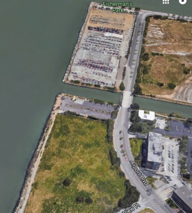 Courtesy Google Maps. The Burlingame property at 410 Airport Blvd. is between the Hilton San Francisco Bayfront and Fisherman's Park.