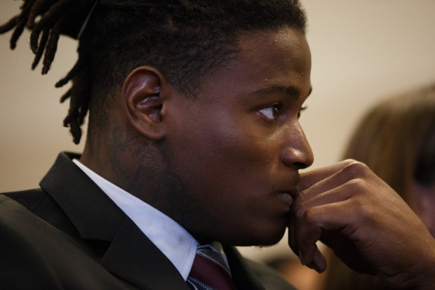 San Francisco 49ers linebacker Reuben Foster appears for his arraignment at the Santa Clara County Hall of Justice in San Jose, Calif. on April 12, 2018, where he answered to felony domestic violence and weapon charges. (Dai Sugano/Bay Area News Group)
