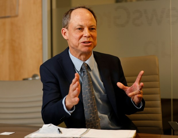 Santa Clara County Superior Court judge Aaron Persky speaks regarding the recall election against him with the editorial board of the Mercury News at the Mercury News offices in downtown San Jose, Calif., on Thursday, April 19, 2018. (Nhat V. Meyer/Bay Area News Group)