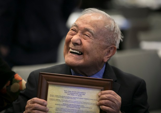 San Jose State University judo coach Yoshihiro Uchida smiles after receiving a copy of the Senate Resolution to honor him for his 70 years of service coaching Judo for the University, at the Diaz Compean Student Union at San Jose State University, in San Jose, on Thursday, April 5, 2017. (LiPo Ching/Bay Area News Group)