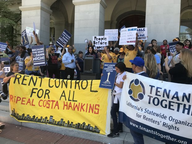 Tenants rally in Sacramento on Monday, April 23. A campaign to repeala state law restricting rent control says it has delivered the signatures required to get the initiative on the November 2018 ballot. (Katy Murphy / Bay Area News Group)