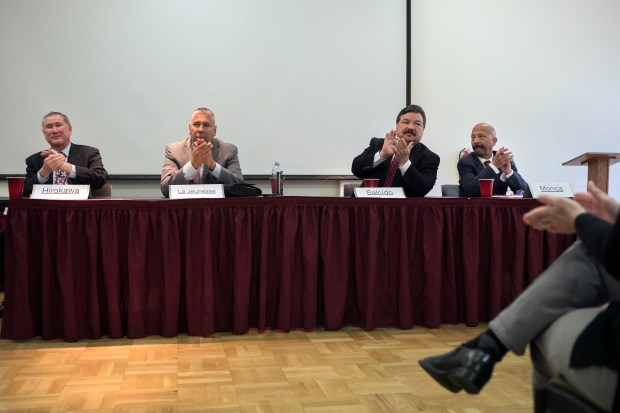 From left, Santa Clara County Sheriff candidates John Hirokawa, Joe La Jeunesse, Jose Salcido and Martin Monica participate in the School Safety and Gun Violence Prevention Sheriff Candidate Forum at De Anza College in Cupertino, California, on Thursday, April 26, 2018. (LiPo Ching/Bay Area News Group)