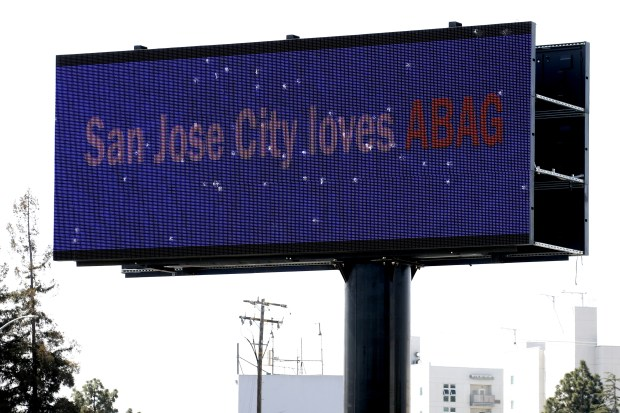 A new electronic billboard on northbound 101 at the 880 interchange in San Jose, Calif., shows signs of vandalism, Monday, April 9, 2018. The sign has been displaying political ads including one last week that supported the reelection of President Trump. (Karl Mondon/Bay Area News Group)