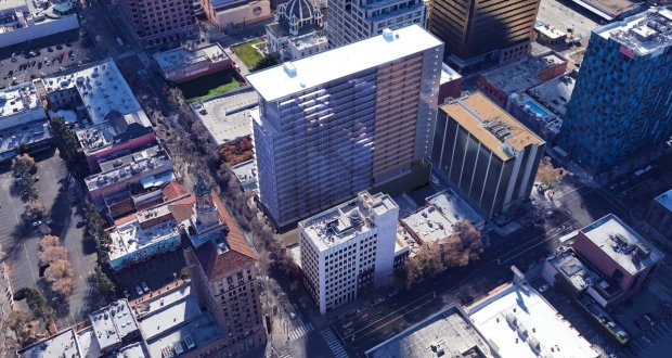 An aerial view of downtown San Jose's 27West residential mixed-use tower,in a visualization. A new 22-story residential tower and new retail space are being planned for downtown San Jose, a development that aims to help revive a decaying stretch of South First Street in the city's urban core. 5G Studio Collaborative
