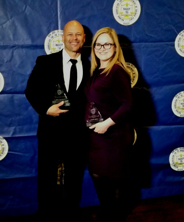 San Jose police Chief Eddie Garcia, left, poses with Santa Clara County Supervisor Cindy Chavez with awards they received at the 66th Annual Freedom and Friendship Gala by the San Jose/Silicon Valley NAACP branch on April 28, 2018. (San Jose Police Dept.)