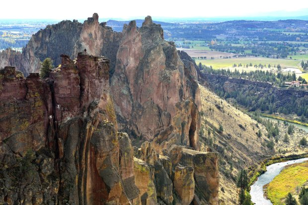 The stunning terrain of Smith Rock State Park in Central Oregon is thanksto the collapsed caldera of a long-ago volcano. (Satoshi Eto/Travel Oregon)