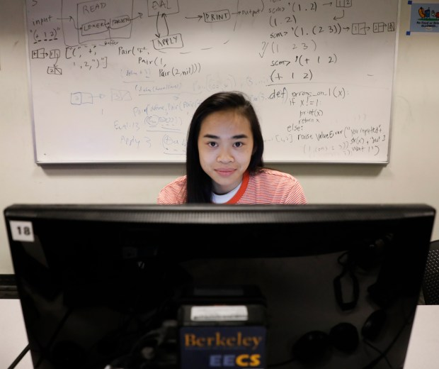 Tammy Nguyen, a senior majoring in computer science at UC Berkeley, is photographed in a computer lab in Soda Hall on the UC Berkeley campus Thursday, April 12, 2018. UC Berkeley and Stanford Universities are increasing the number of female undergraduate students graduating with computer science/electrical engineering degrees. (Laura A. Oda/Bay Area News Group)