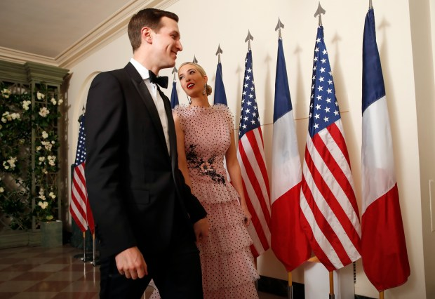 Jared Kushner and Ivanka Trump arrive for a State Dinner with French President Emmanuel Macron and President Donald Trump at the White House, Tuesday, April 24, 2018, in Washington. (AP Photo/Alex Brandon)