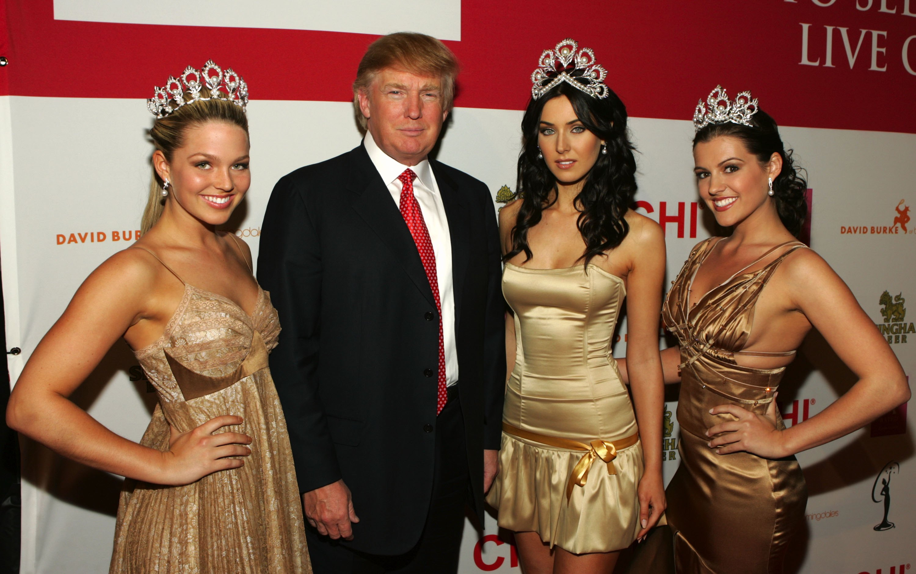 NEW YORK- APRIL 18  Miss USA 2005 Chelsea Cooley Donald Trump Miss Universe 2005 Natalie Glebova and Miss Teen USA 2005 Allie La Force attend