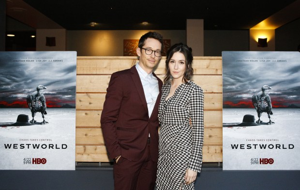 "SAN FRANCISCO, CA - APRIL 18: (L) Simon Quarterman and Shannon Woodward attend the San Francisco Premiere of ""Westworld"" Season 2 from HBO on April 18, 2018 in San Francisco, California. (Photo by FilmMagic/FilmMagic for HBO)"