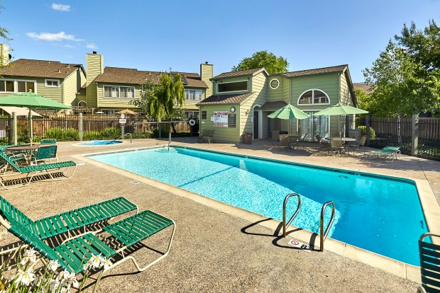 Life at the Camden Village complex comes with a community pool.