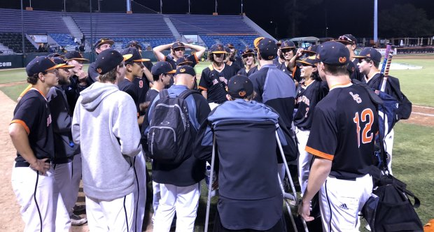 Los Gatos baseball coach Nate Anderson addresses his players after their2-1 victory over Serra in the Central Coast Section Open Division baseball semifinals on Tuesday, May 22, 2018, at Municipal Stadium in San Jose. (Darren Sabedra/staff)