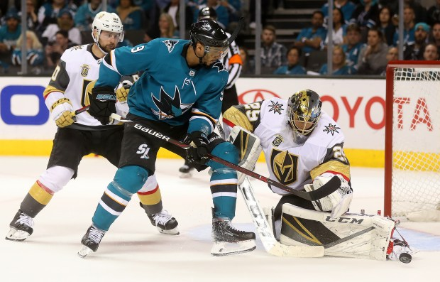 San Jose Sharks forward Evander Kane (9) tries to get the puck past Vegas Golden Knights goaltender Marc-Andre Fleury (29) during the second period of Game 4 in the second-round of the NHL Stanley Cup Playoffs on Wednesday, May 2, 2018, in San Jose, Calif. (Aric Crabb/Bay Area News Group)