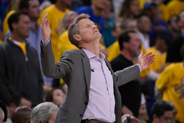 Golden State Warriors head coach Steve Kerr reacts after a call while playing against the Houston Rockets during the third quarter of Game 3 of the NBA Western Conference finals at Oracle Arena in Oakland, Calif., on Sunday, May 20, 2018. (Jose Carlos Fajardo/Bay Area News Group)