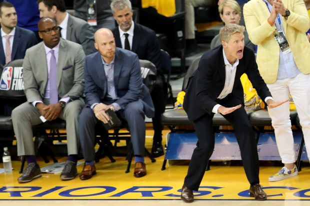 Golden State Warriors head coach Steve Kerr gives instructions to his team against the Houston Rockets during the first quarter of Game 4 of the NBA Western Conference Finals at Oracle Arena in Oakland, Calif., on Tuesday, May 22, 2018. (Ray Chavez/Bay Area News Group)