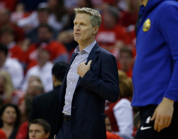 Golden State Warriors head coach Steve Kerr coaches from the bench during their game against the Houston Rockets in the first quarter of Game 5 of the NBA Western Conference finals at the Toyota Center in Houston, Texas., on Thursday, May 24, 2018. (Nhat V. Meyer/Bay Area News Group)