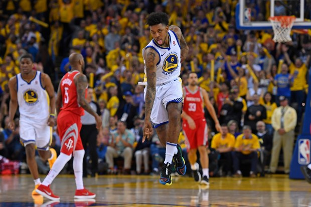 Golden State Warriors' Nick Young (6) gestures after making a basket against the Houston Rockets during the fourth quarter of Game 6 of the NBA Western Conference finals at Oracle Arena in Oakland, Calif., on Saturday, May 26, 2018. The Golden State Warriors defeated the Houston Rockets 115-86. (Jose Carlos Fajardo/Bay Area News Group)