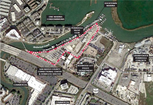A 131-unit for-sale townhome development is being built along the creek in the area highlighted in red at 1548 Maple Street. The development includes creation of a waterfront park and an extension of the San Francisco Bay Trail along the water. (City of Redwood City)