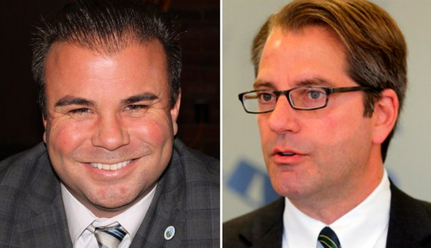 Embattled Santa Clara City Councilman Dominic Caserta and former San Jose Councilman Pierluigi Oliverio both were the subject of scrutiny over past sexual misconduct. (Photograph courtesy Santa Clara County Democratic Club)