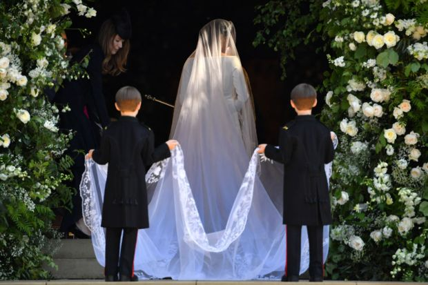 Meghan Markle arrives for the wedding ceremony to marry Prince Harry at St George's Chapel, Windsor Castle on May 19, 2018 in Windsor, England. (Photo by Ben Stansall - WPA Pool/Getty Images)