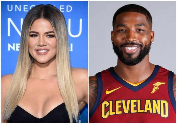 This combination photo shows television personality Khloe Kardashian at the NBCUniversal Network 2017 Upfront at Radio City Music Hall in New York on May 15, 2017, left, and Cleveland Cavaliers' Tristan Thompson at the NBA basketball team media day in Independence, Ohio, on Sept. 25, 2017. Various outlets have reported that the 33-year-old reality star has given birth to a baby girl, but her reps have not commented. Kardashian was expecting the baby with Thompson. The birth comes amid a torrent of tabloid speculation about the couple after surveillance video showed the basketball star with other women. (AP Photo)