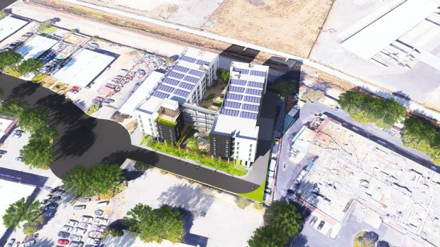 This aerial rendering shows what an affordable, 100-unit apartment complexin Milpitas at 355 Sango Court could look like when complete. (Image courtesy city of Milpitas)