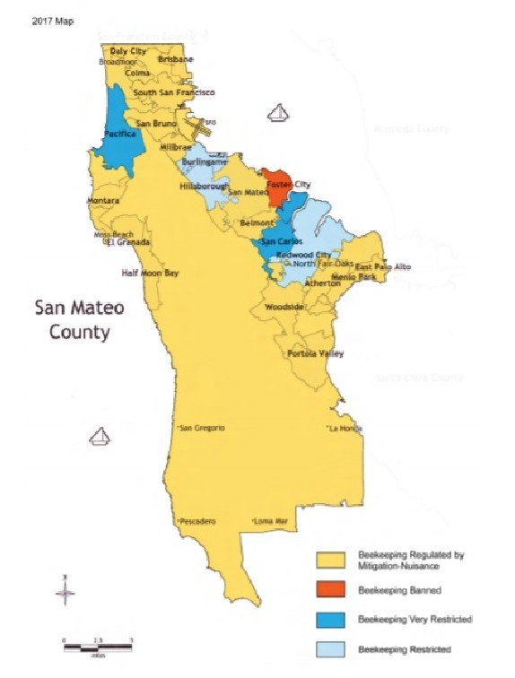 San Mateo County bee regulations map. For full details, visit the San Mateo County Beekeepers Guild's website.