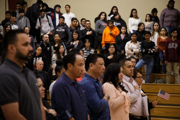 San Jose High School students observe a citizenship ceremony, where their principal, Gloria Marchant, a Chilean native, became a U.S. citizen on May 22, 2018, at San Jose High School. (Dai Sugano/Bay Area News Group)