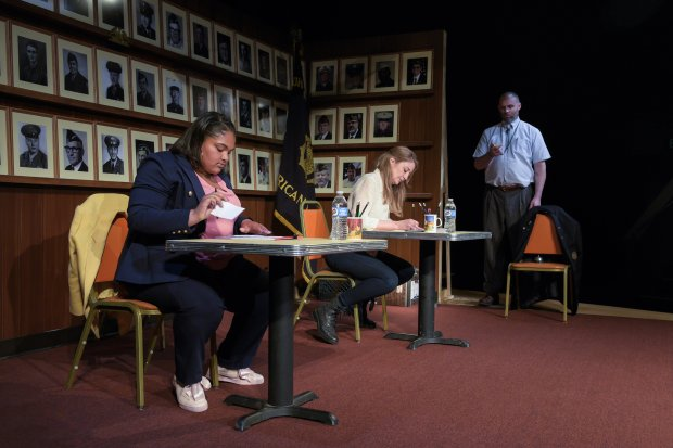 Anaya Matthews (Anaya), Heidi Schreck (Heidi), and Danny Wolohan (Danny) inthe West Coast premiere of *What the Constitution Means to Me* at Berkeley Rep. (Alessandra Mello/Berkeley Repertory Theatre)