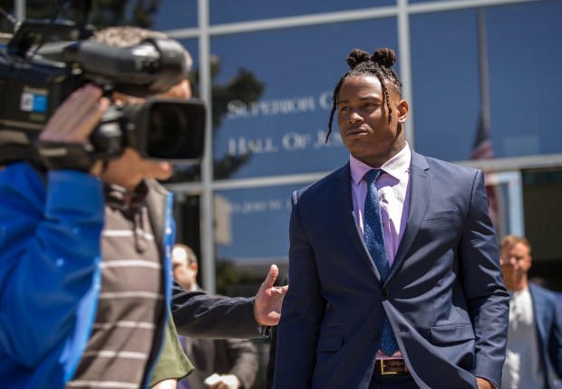 San Francisco 49ers linebacker Reuben Foster leaves the Santa Clara Hall of Justice after his preliminary hearing on his domestic-violence case in San Jose, California, on Thursday, May 17, 2018. (LiPo Ching/Bay Area News Group)