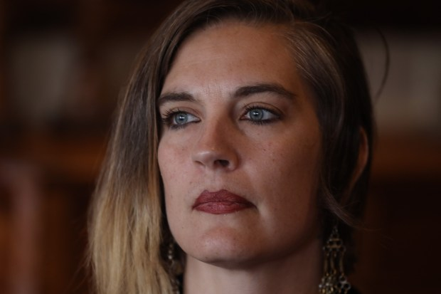 Micah Allison, wife of Ghost Ship fire defendant Derick Almena, talks about her family and their situation near her home in Lake County, Calif., on Saturday, March. 31, 2018. (Karl Mondon/Bay Area News Group)