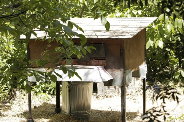 A cat feeder on the Google campus in Mountain View, Calif., on Wednesday, May 30, 2018. These structures feed the feral cats which has endangered the burrowing owls in the surrounding area. (Maritza Cruz/ Bay Area News Group)