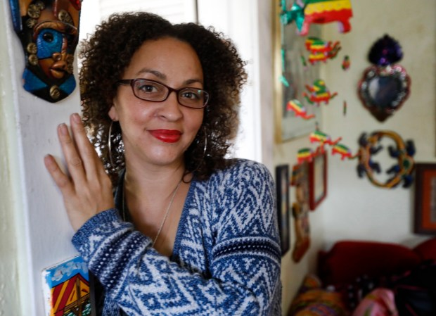Mandolyn Ludlum is photographed in her home in Oakland, Calif., on Friday, May 4, 2018. Ludlum has been creating her own music for years and talks about the significance of Kendrick Lamar becoming the first non-classical, non-jazz musician to win a Pulitzer Prize for music. (Laura A. Oda/Bay Area News Group)