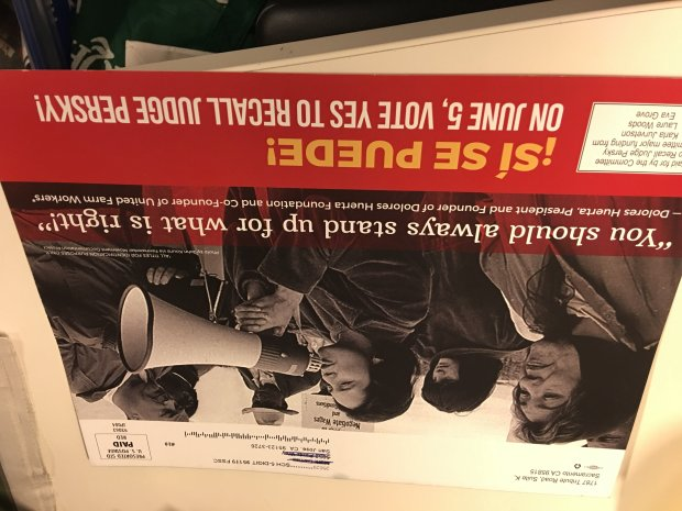 The campaign to recall Judge Aaron Persky touts the endorsement of Latina icon Dolores Huerta in a mailer that was sent to voters in late May 2018. Huerta co-founded United Farm Workers.