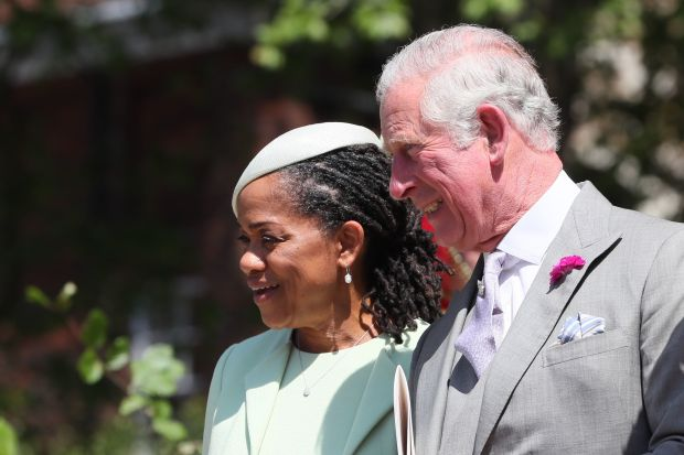 WINDSOR, UNITED KINGDOM - MAY 19: Doria Ragland, Megan Markle's mother and Prince Charles, Prince of Wales leave St George's Chapel at Windsor Castle following the wedding of Prince Harry to Meghan Markle on May 19, 2018 in Windsor, England. (Photo by Brian Lawless- WPA Pool/Getty Images)