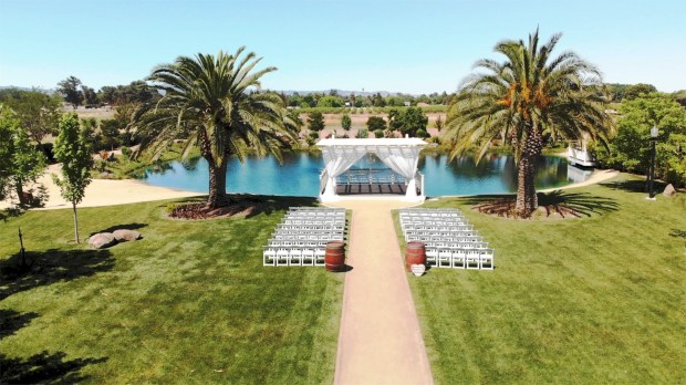 The property's special events center can create a divine wedding setting at the lake.