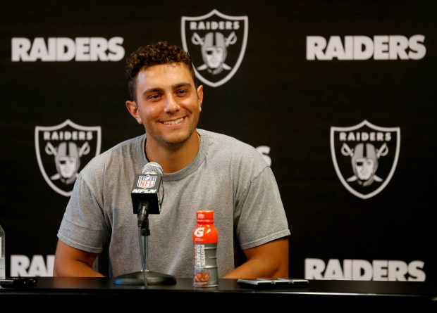 Oakland Raiders kicker Giorgio Tavecchio takes questions during a press conference at their headquarters in Alameda, Calif., on Wednesday, June 13, 2018. (Jane Tyska/Bay Area News Group)