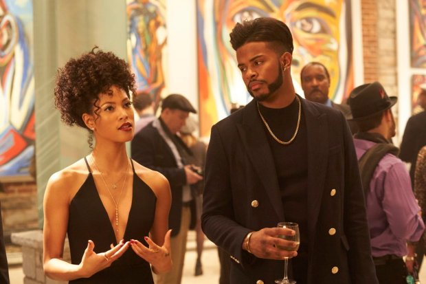 """This image released by Sony Pictures shows Lex Scott Davis, left, and Trevor Jackson in a scene from the film, """"Superfly."""" (Quantrell D. Colbert/Sony Pictures via AP)"""
