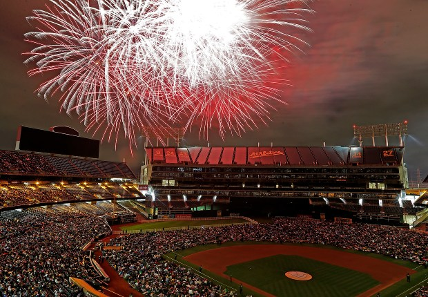 Fireworks illuminate the sky above the Coliseum after the Oakland Athletics lost to the Chicago White Sox 7-2 at the Coliseum in Oakland, Calif., on Monday, July 3, 2017. (Jane Tyska/Bay Area News Group archive)